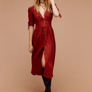 Free People Love of My Life Cotton Midi Red